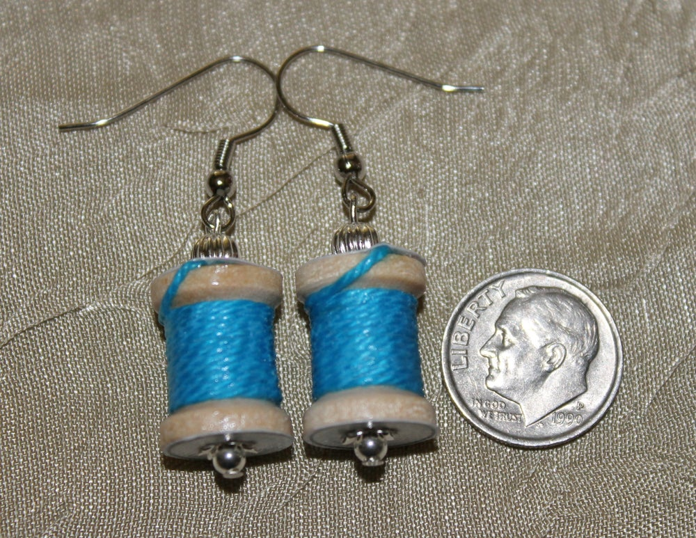 Image of Sewing Jewelry, Sewing Earrings, Spool of Thread Earrings, Gifts for Sewers