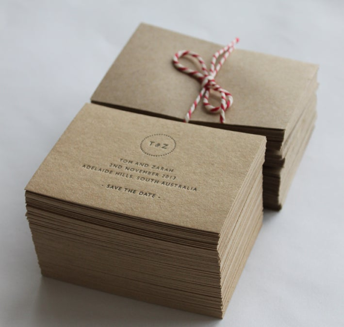 Image of Save the Date Cards, Letterpress printed with monogram / A7 size