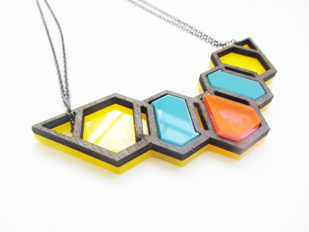 Image of Geo-hive necklace (Yellow, blue and flourescent pink)