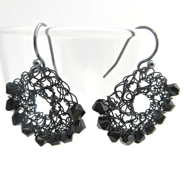 Image of HALF-MOON EARRINGS - Black
