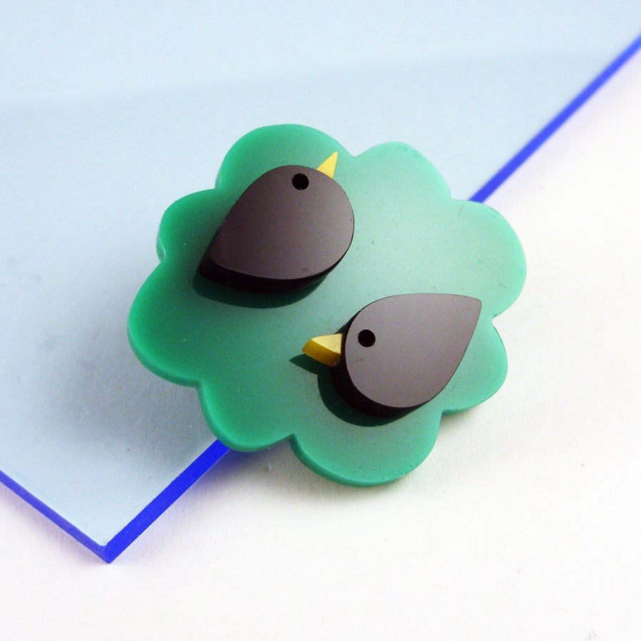 Image of Two in a Bush Bird Brooch