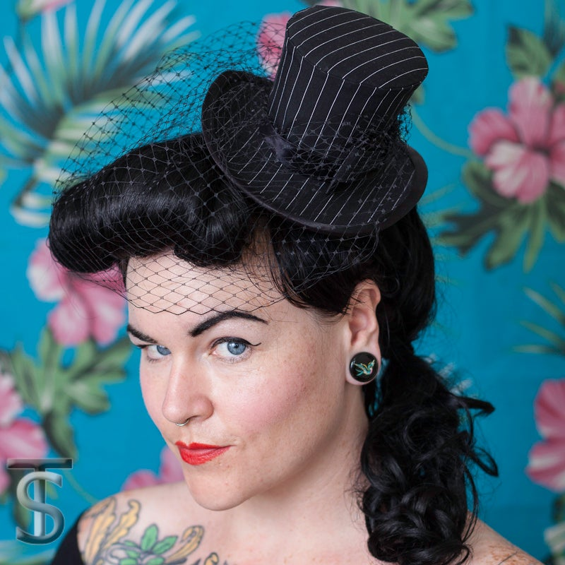 Image of Pinstripe Mini Top Hat
