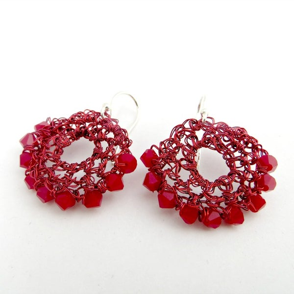 Image of Red hand crocheted half-moon wire earrings