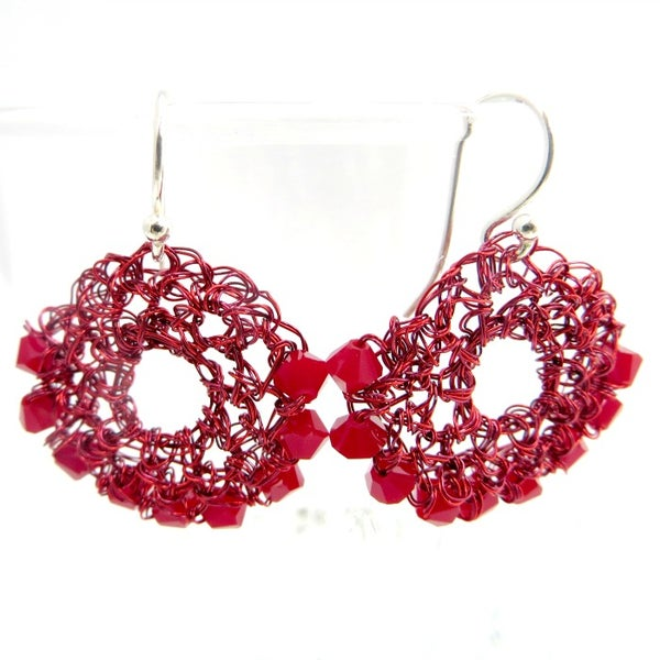 Image of HALF-MOON EARRINGS - Dark Red Coral