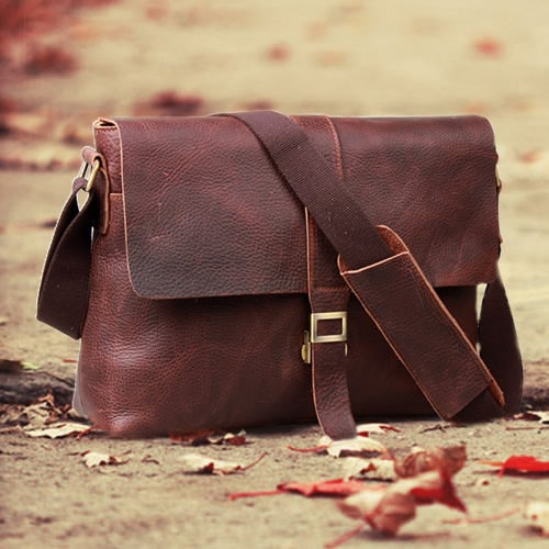 """Image of Vintage Handmade Antique Leather Messenger Bag / Satchel / 13"""" Laptop or 13"""" MacBook Bag (n9)"""