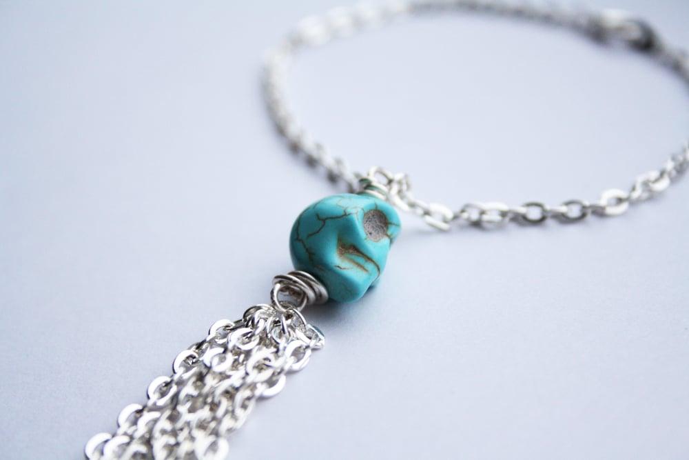 Image of Genuine turquoise skull tassel bracelet