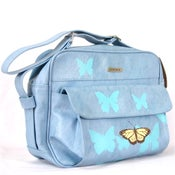Image of Blue Carry-On with Butterflies and Sea Turtle