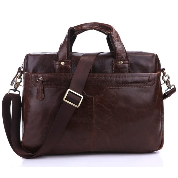 "Image of Handmade Antique Leather Briefcase / Messenger / 11"" 13"" MacBook or 13"" 14"" Laptop Bag (n58-2)"