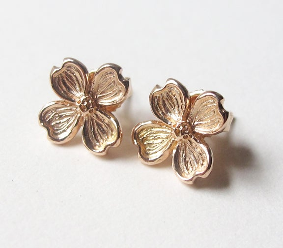 Image of Dogwood Flower 18k Earrings