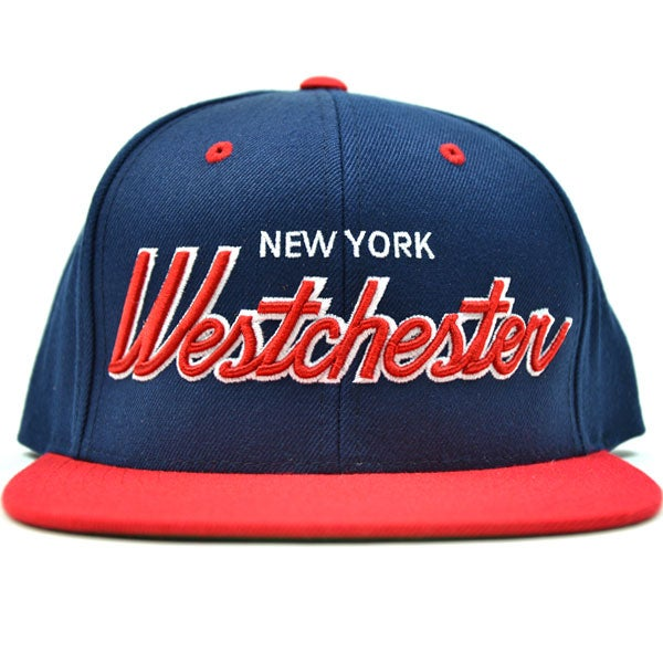 Image of Westchester NY NAVY & RED SNAPBACK