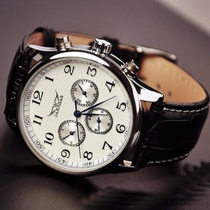 Image of Mens Leather Fashion Watches / Handmade Vintage Watches / Automatic Mechanical Watch (WAT0103-WHITE)