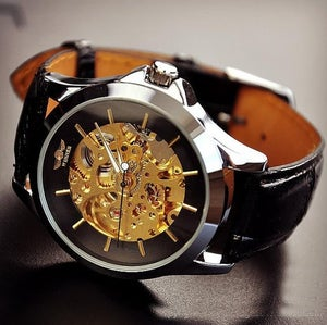 Image of Steampunk Watch For Men / Fashion Gold Leather Automatic Mechanical Watches (M104-BLACK)