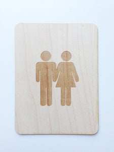 "Image of Potty People Couple 3""x4"" Wood Veneer Card"