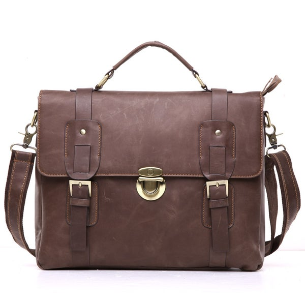"Image of Vintage Handmade Crazy Horse Leather Briefcase / Messenger / 13"" Laptop 13"" MacBook Bag (n3)"