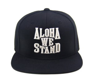 "Image of TFHH Classic Logo ""ALOHA WE STAND"" Snapback (blk/wht)"
