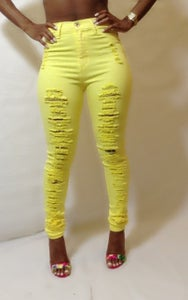 Image of Yellow Polka Dot Destroyed Skinny Denim