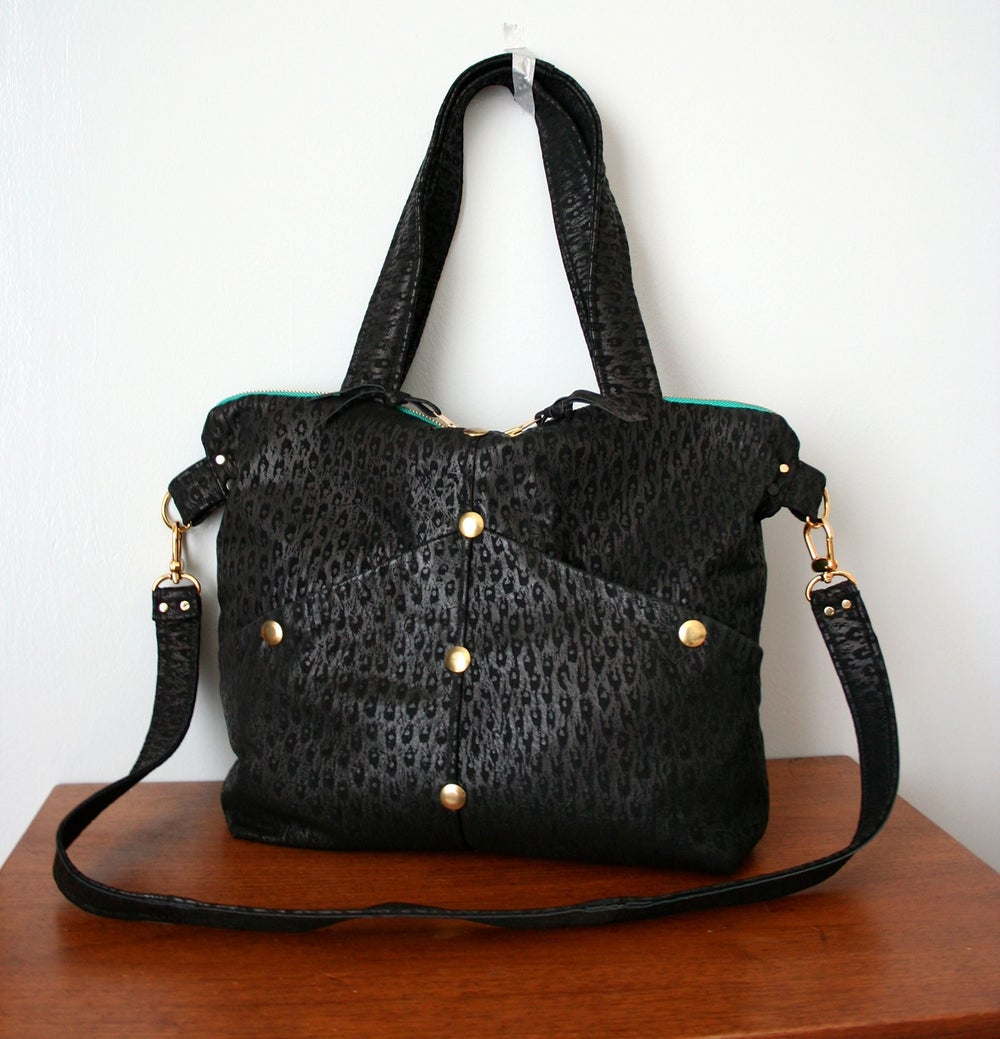 Image of Black Embossed Repruposed Leather Satchel Bag