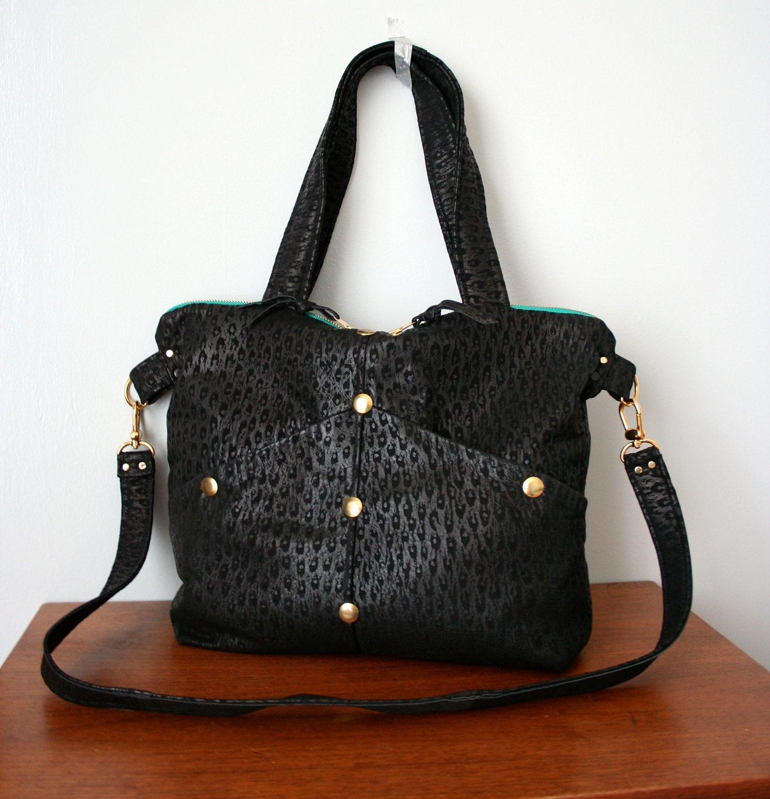 Image of Black Embossed Repruposed Leather Satchel Bag