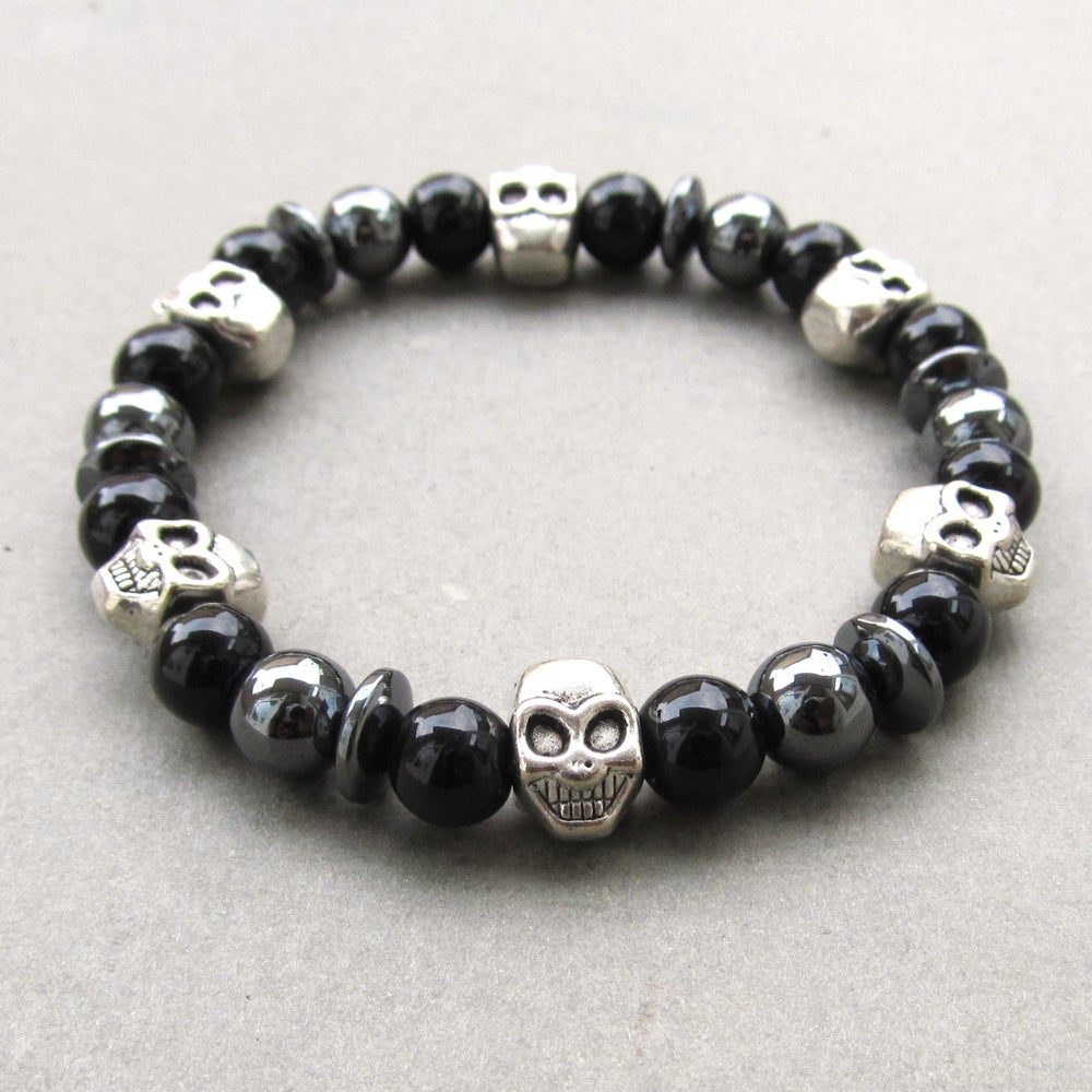 Image of Black Glass Mixed Skull And Hematite Beaded Bracelet