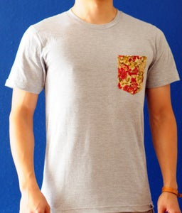 Image of Beige Floral Print on Gray Tee