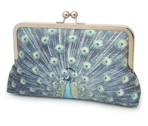 Blue peacock clutch bag, silk purse - Red Ruby Rose