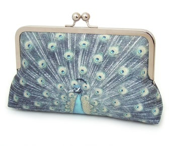 Image of Blue peacock clutch bag, silk purse