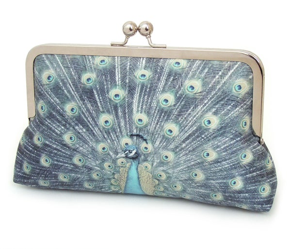 Image of Blue peacock clutch bag, silk purse