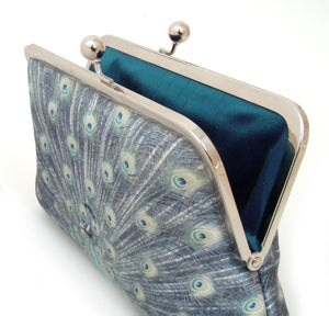 Image of Blue peacock silk clutch bag
