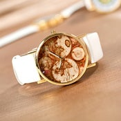 Image of Five Continents Map Wrist Watch / Mens Unisex Watch / Womens Watches (WAT00101 White)
