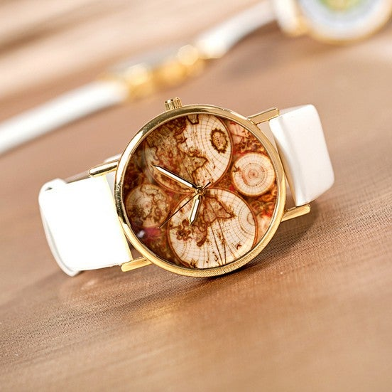 stan vintage watches  u2014 five continents map wrist watch