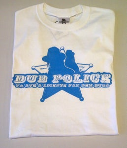 Image of Dub Police White/Blue Logo Mens T-Shirt