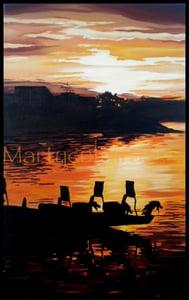 Image of Dragon Boats at Sunset Original Painting