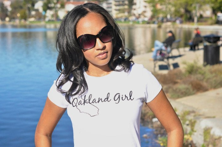 Image of White & Black Oakland Girl Tee