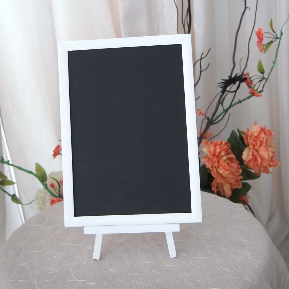 Image of Small Chalkboard with White Frame on a White Stand
