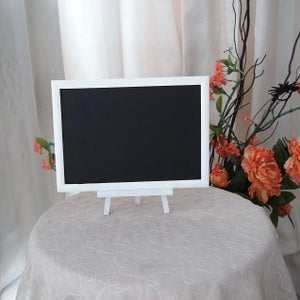 Small Chalkboard with White Frame on a White Stand
