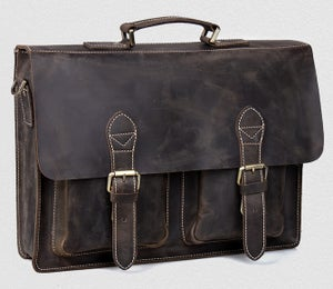 "Image of Vintage Handmade Crazy Horse Leather Briefcase Messenger 14"" 15"" Laptop 13"" 15"" MacBook Bag (n67-5)"