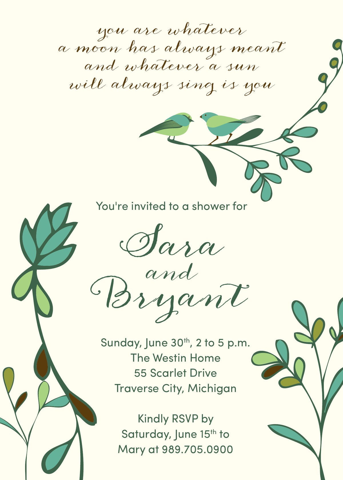 Birds and Branches Shower Invitation (i carry your heart with me - poem)
