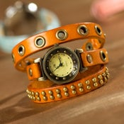 Image of Handmade Vintage Leather Retro Bracelet For Girls And Womens (W0113-Orange)