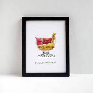 Boulevardier Cocktail Print by Alyson Thomas of Drywell Art. Available at shop.drywellart.com