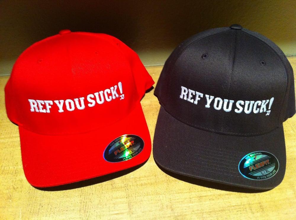 Ref You Suck! logo - choose your color (flexfit cap)
