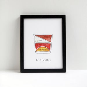 Negroni Cocktail Print by Alyson Thomas of Drywell Art. Available at shop.drywellart.com