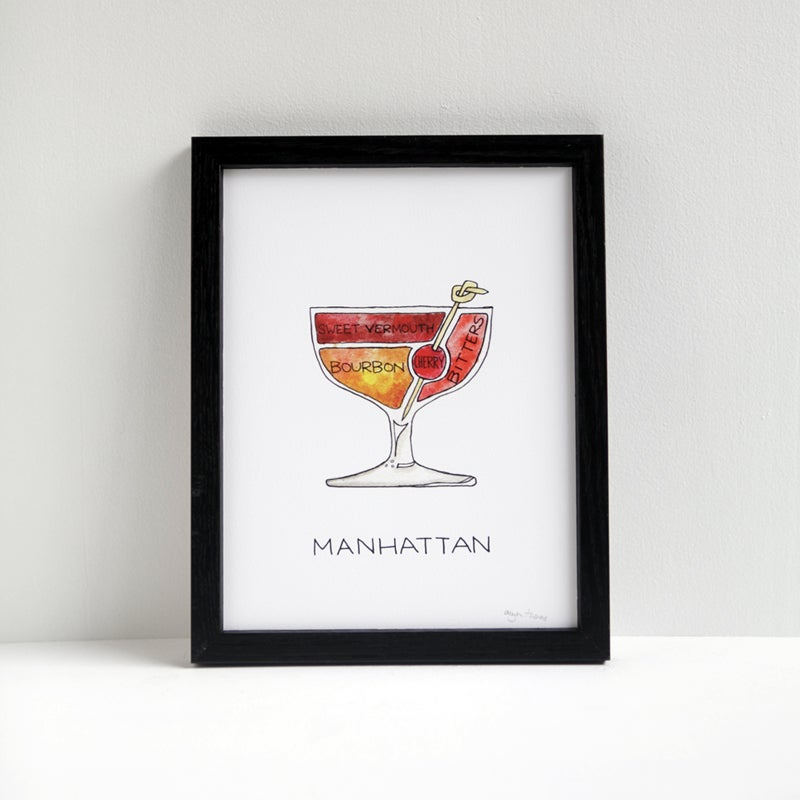 Manhattan Cocktail Diagram Print Drywell Art