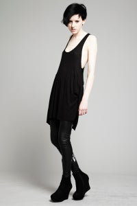 Image of Black Wafer Rib Vest Dress