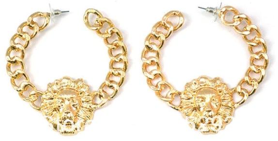 Image of Lions Head Chain Earrings