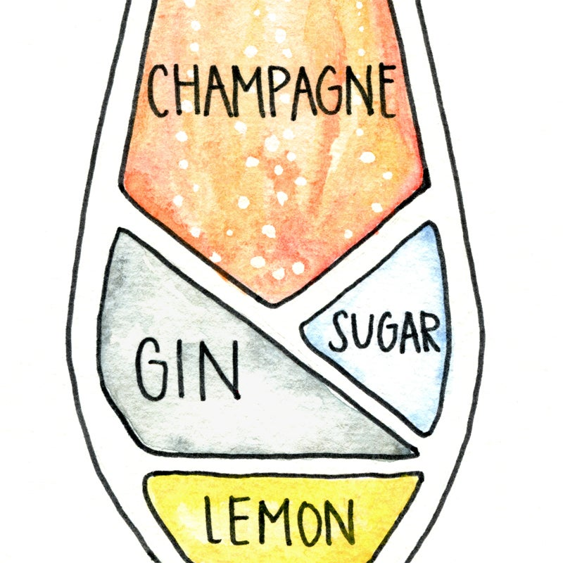 Image of French 75 Cocktail Diagram Print
