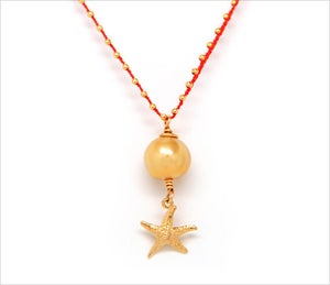 Image of STARFISH & PEARL NECKLACE, CORAL