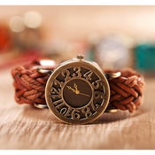 Image of Fathion Vintage Handmade Cowhide Bronze Women's Watch   (WAT0117)