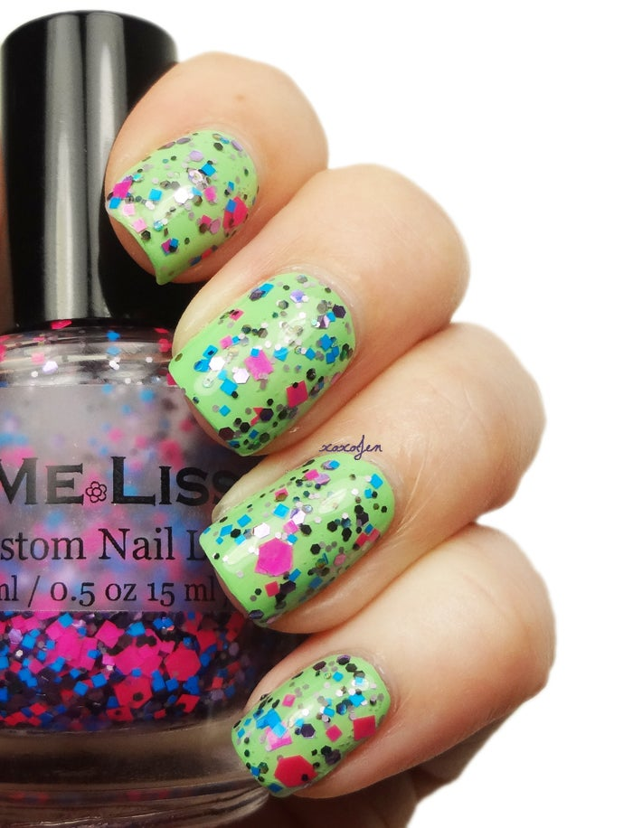 Image of Dance on Tabletops - Neon Holographic Glitter Nail Polish / Lacquer Full Size 15 ml / 0.5 oz Bottle