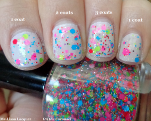 Image of On the Carousel - Neon Glitter Nail Polish / Lacquer Full Size 15 ml / 0.5 oz Bottle