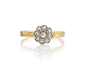 Image of custom floral diamond cluster ring